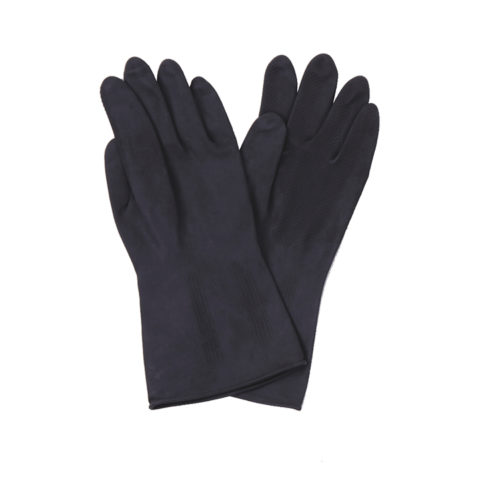 black industrial latex gloves