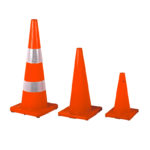 Red PVC traffic cone