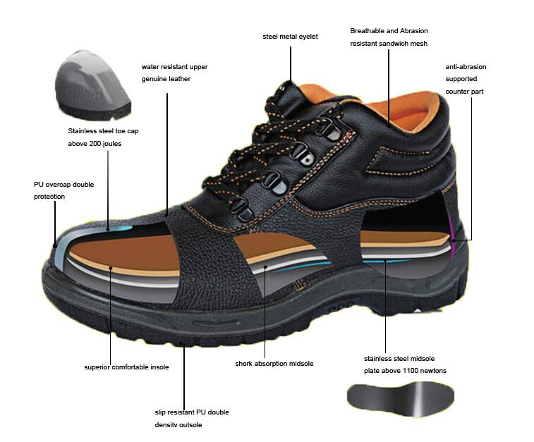 Genuine leather safety shoes PU
